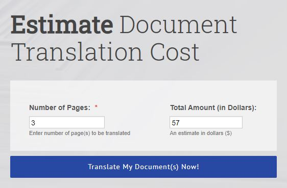 FIA Interpreting Document Translation Cost Calculator